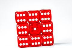 Concept luck - dice gambling on white background.  stock photography