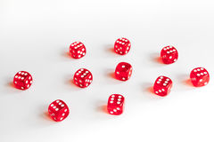 Concept luck - dice gambling on white background.  royalty free stock photos