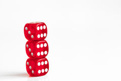 Concept luck - dice in row on white background Stock Photo