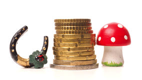 Concept of luck with stacked coins Stock Images