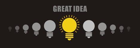 Concept lumineux d'idée : ampoules marche-arrêt dans la rangée avec l'espace de copie images libres de droits