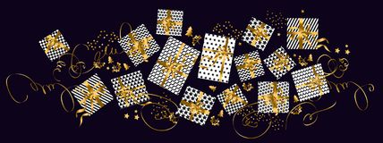 Concept luxury gift xmas pattern for header. Banner, card, poster, invitation. Gold, white and black abstract present set Stock Images
