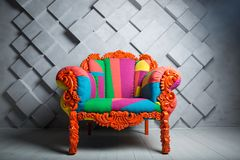 Concept of luxury and success with multi colored velvet armchair, royal place royalty free stock photography