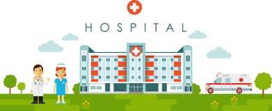 Concept médical avec le bâtiment et le docteur d'hôpital dans le style plat illustration libre de droits