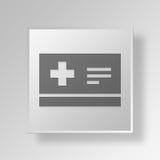 concept médical d'icône de bouton de la carte 3D Photographie stock libre de droits
