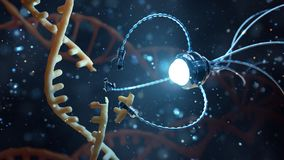 Concept médical dans le domaine de la nanotechnologie Génie génétique et l'utilisation des nanorobots de remplacer une partie de  illustration de vecteur