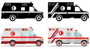 Concept MÉDICAL Différentes ambulances musulmanes aimables de voiture d'isolement sur le fond blanc dans le style plat : coloré e Images stock