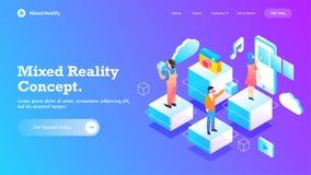 Concept mélangé de réalité, conception isométrique avec le dispositif intelligent, les gens employant des verres de VR calibre de illustration stock