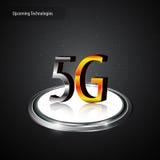 concept métallique d'innovation de technologie de logo de télécom de la communication 5g Photo stock