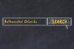 Concept M?DICAL Dessin de craie d'une fenêtre de moteur de recherche recherchant le chlorure de bethanechol de drogue photos libres de droits