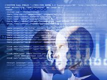 Concept of machine learning to improve artificial intelligence. And its ability of thinking Stock Images