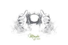 Concept magique Vecteur d'isolement tiré par la main illustration stock