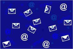 Concept of mailing list with envelopes Royalty Free Stock Photos