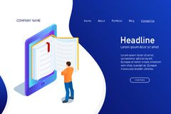 Concept of main page of web site with eBook. Landing page design with isometry. Person, man is standing and reading 3d eBook. Vector illustration vector illustration