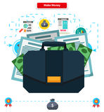 Concept Make money. Briefcase with Income. Cash investment, financial wealth, finance profit, growth rich, banking and income, currency and economy Royalty Free Stock Image