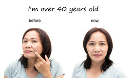 Concept of makeup. Asian middle-aged woman before and after retouch, concept of makeup or plastic surgery Royalty Free Stock Image
