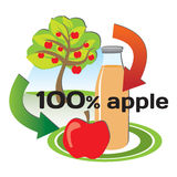 Concept of making apple juice from the apples Stock Images