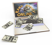 Concept of making money online. 3d laptop with earn money online wallpaper and dollar notes coming out from screen Stock Photography