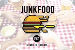 Concept malsain d'obésité d'aliments de préparation rapide de nourriture industrielle Photo libre de droits