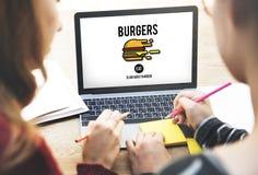 Concept malsain d'obésité d'aliments de préparation rapide de nourriture industrielle Images stock