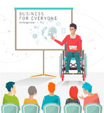 Concept of man with disabilities holding presentation. Disabled man read lecture. Conference. Vector flat illustration stock illustration