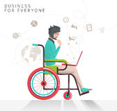 Concept of man with disabilities working with notebook. Communication over the network. Vector flat illustration royalty free illustration