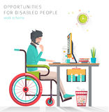 Concept of man with disabilities working with notebook. Communication over the network. Vector flat illustration stock illustration