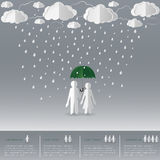 Concept of man holding umbrella with women on a rainy day,paper art and origami style stock illustration