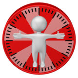 Concept : man-hour. 3d Man and clock face. Royalty Free Stock Photography