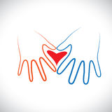 Concept of man & woman couple hands together forming love sign. Stock Photo