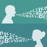 Concept man woman and letters. Illustration, concept man woman and letters, format EPS 8 Royalty Free Stock Image