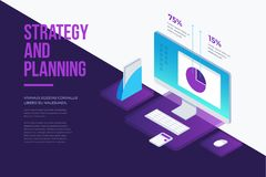 Concept for management and business strategy. Analysis data and Investment. Business success. Modern business working elements, digital marketing. 3d isometric Royalty Free Stock Image