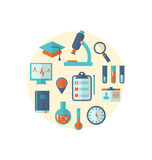 Concept of management  medical science research, set flat icons Royalty Free Stock Photos