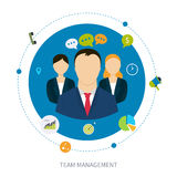 Concept of management. Vector flat concept of management, human resources and teamwork. Vector illustration Royalty Free Stock Photos