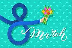 Concept of 8 march congratulation. Businessman hand in the shape of figures 8 holding a bouquet of flowers. Flat design, vector illustration Royalty Free Stock Image