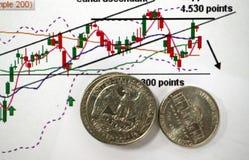 Concept marchand avec des graphiques et des pièces de monnaie photos stock