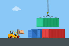 Concept marine cargo port. Unloading of sea cargo containers by a forklift. Closed containers and one outdoor. Vector illustration Royalty Free Stock Images