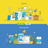 Concept of marketing, business investment, payment methods. Color Line icons collection.Vector design for website, banner, printed materials and mobile app Stock Photos