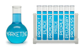 Concept of marketing. Cyan flasks. Stock Image