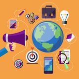 Concept of marketing process. Flat design digital marketing concept with megaphone and web application, business, education icons on yellow background Stock Photography