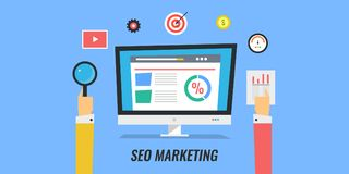 Seo marketing, digital media marketing, website optimization, networking, seo planning. Concept of marketing strategy for search engine optimization, increasing Royalty Free Stock Photo