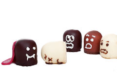 Concept marshmallow vampire plays halloween Royalty Free Stock Photo
