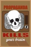 Concept for mass media, propaganda kills your brain.  stock illustration