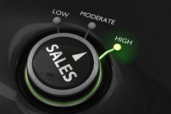 Concept maximum de ventes Le bouton pour maximisent des ventes 3D a rendu l'illustration Image stock