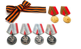 Concept May 9 St.Georges Ribbon medal award blade old photos. Victory Day. May 9. Royalty Free Stock Photo