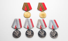 Concept May 9 St.Georges Ribbon medal award blade old photos. Victory Day. May 9. Royalty Free Stock Photos