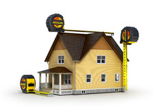 Concept of measurement. 3d illustration of tape measure and house model, over white background Stock Photography