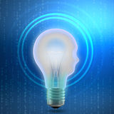Concept of mechanism light bulb head man Stock Images