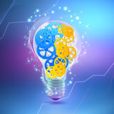 Concept of mechanism light bulb head man with. Gears inside Royalty Free Stock Image