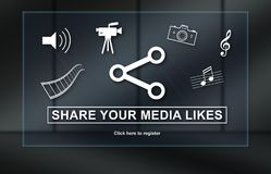 Concept of media likes sharing. Media likes sharing concept on dark background Royalty Free Stock Photos
